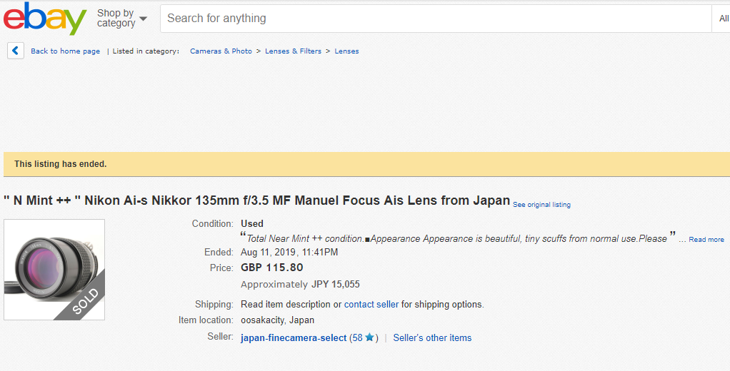 "ebay 高額商品のご紹介 "" N Mint ++ "" Nikon Ai-s Nikkor 135mm f/3.5 MF Manuel Focus Ais Lens from Japan"