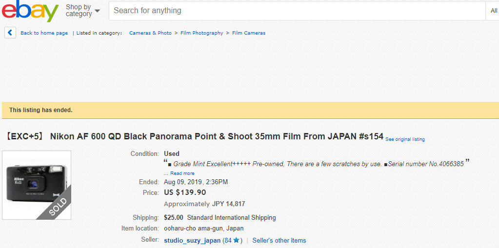 ebay 高額商品のご紹介 【EXC+5】 Nikon AF 600 QD Black Panorama Point & Shoot 35mm Film From JAPAN #s154