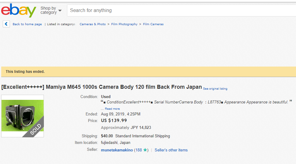 ebay 高額商品のご紹介 [Excellent+++++] Mamiya M645 1000s Camera Body 120 film Back From Japan