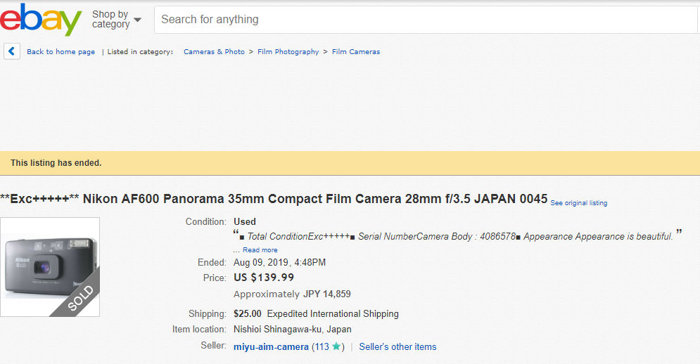 ebay 高額商品のご紹介 **Exc+++++** Nikon AF600 Panorama 35mm Compact Film Camera 28mm f/3.5 JAPAN 0045